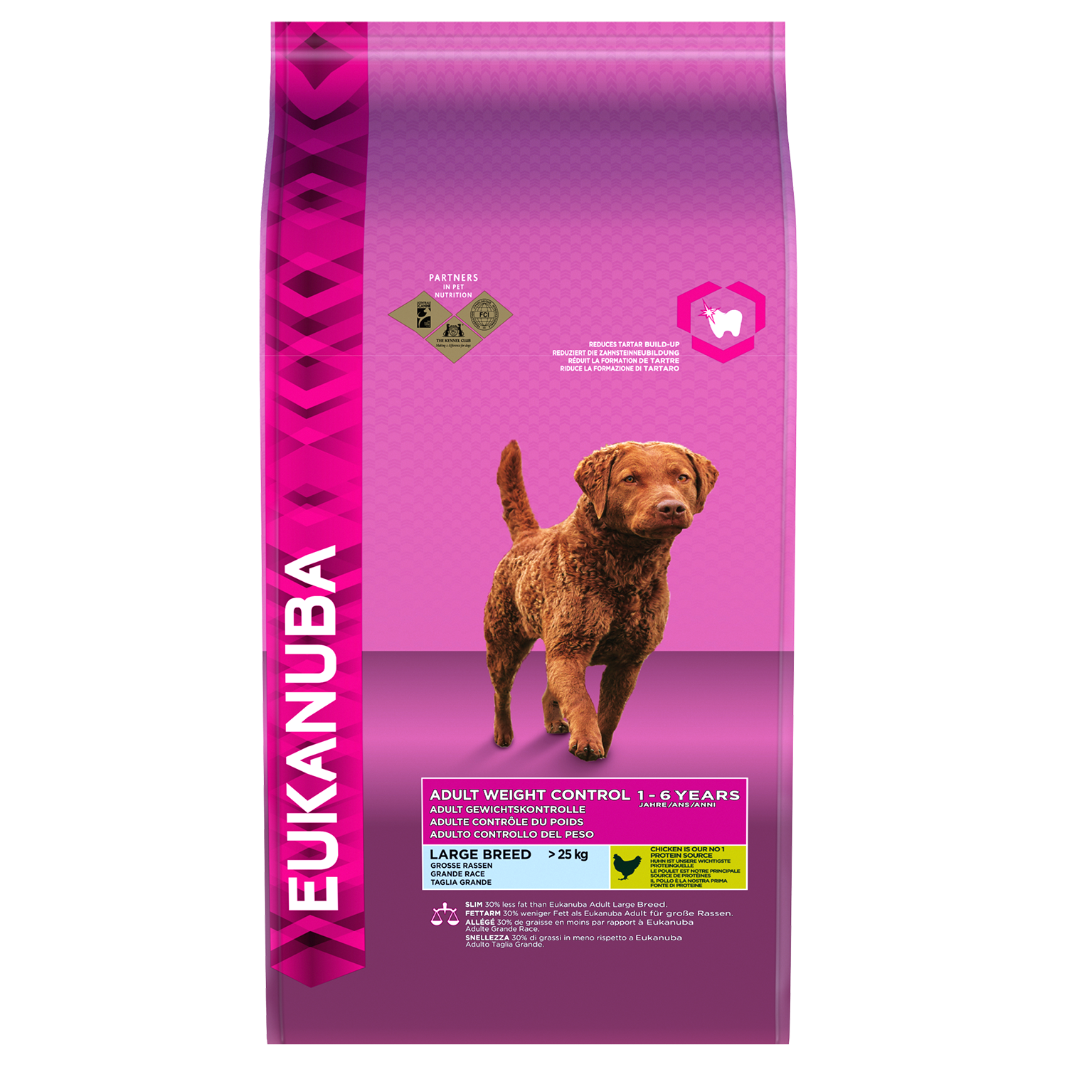 EUKANUBA Adult Dry Dog Food Weight Control Large Breed Chicken RTP FOP